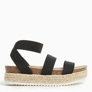 Black elastic ankle strap espadrille flatform(ww)